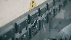 Press to bend steel weight presses down and create a folded metal parts. worker Stock Footage