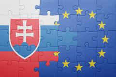 puzzle with the national flag of slovakia and european union - stock photo