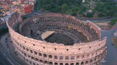 Colosseum, Rome, Italy. Aerial Roman Coliseum on sunrise. Stock Footage