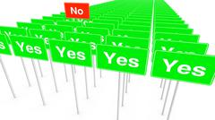 Many yes and one no signs - stock illustration