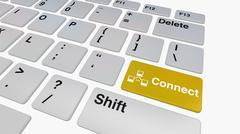 Keyboard with yellow connect key Stock Illustration