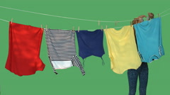 Laundry on green screen - stock footage
