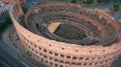 Colosseum, Rome, Italy. Aerial Roman Coliseum on sunrise. Stock Footage
