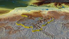 Sari Pul - Afghanistan province extruded. Bumps shaded - stock footage