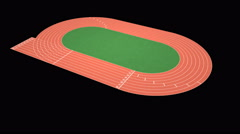 Athletics stadium running track, sport field – looping, alpha included Stock Footage