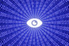 Digital eye in blue data stream - stock illustration
