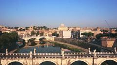 Aerial Castel Sant angelo fortress and bridge view in Rome, Italy. Stock Footage