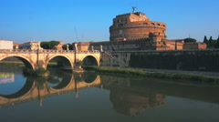 Aerial Castel Sant angelo fortress and bridge view in Rome, Italy. - stock footage