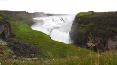 Gullfoss general view, dolly camera Stock Footage