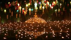 Yee-Peng festival , lantern and candle for buddha  in Temple, Chiangmai,Thailand - stock footage