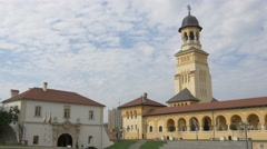 View of the fortress' fourth gate and the Coronation Cathedral in Alba Iulia Stock Footage