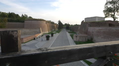Alleys and walls seen from a bridge inside the fortress of Alba Iulia Stock Footage