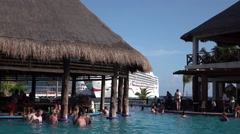Costa Maya Mexico cruise ship passengers enjoy marina swimming pool 4K Stock Footage