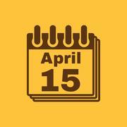 The Calendar 15 april icon. Tax day Stock Illustration