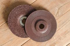 Blade grinder  abrasive flap grinding disc. - stock photo