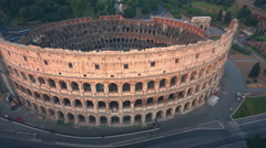 Colosseum, Rome, Italy. Aerial Roman Coliseum on sunrise. - stock footage