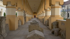 Ruins in one of the Coronation Cathedral's corridors in Alba Iulia Stock Footage