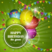 Happy Birthday greeting card. Party balloons, confetti and colorful flags. Piirros
