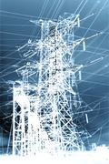 high tension wires - stock illustration