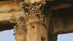 Stock Video Footage of Ancient pilaster, Corinthian capitals decorated with moulding, Hadrian's Gate