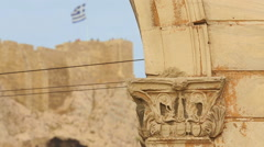 Remains of ancient Acropolis, UNESCO World Heritage Site in Athens, Greece Stock Footage