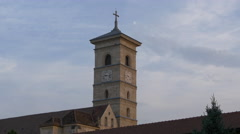 Saint Michael cathedral's clock tower in Alba Iulia Stock Footage