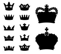 Crown silhouettes - stock illustration