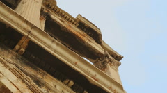 Stock Video Footage of Decaying construction with beautiful moulding on pilaster capitals, architecture