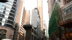 Extremely narrow house, view from low angle, HK street Stock Footage