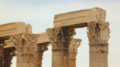 Huge columns of Zeus Temple dedicated to king of Olympian gods in Athens, Greece - stock footage