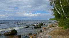 Shore of Onega lake in Karelia, Russia, 4k Stock Footage