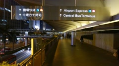 Airport Express, Central Bus Terminus information sign at night passage Stock Footage