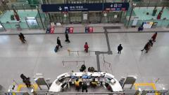 Information counter desk near in-town check-in area, Hong Kong station Stock Footage