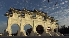 Beautiful monument, Chiang Kai-shek Memorial Hall Tourist attraction Taipei-Dan Stock Footage