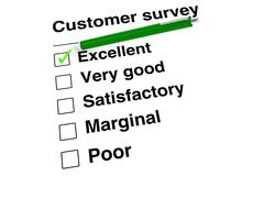 Green ball pen setting a mark at excellent on customer satisfaction checklist - stock illustration