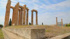 Place of interest for tourists in Athens, ruins of Olympieion, travel to Greece - stock footage