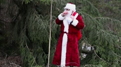 Santa Clause with ice cold hands near spruce in woods - stock footage