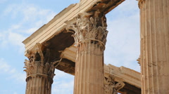 Stock Video Footage of Corinthian capitals and architraves, details of Olympian Zeus Temple in Athens