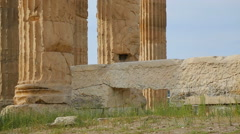 Ruins of ancient Roman empire palace, huge stone remains, tall marble columns - stock footage