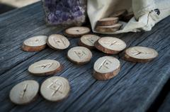 Wooden runes handmade Stock Photos