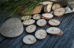 wooden runes handmade - stock photo