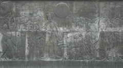 Bas-relief of men on the Princely Palace in Alba Iulia Stock Footage