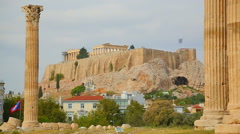 Stock Video Footage of Distant view of Parthenon temple on top of Acropolis of Athens, world heritage
