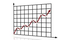 Red line chart rising Stock Illustration