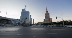Traffic on Aleje Jerozolimskie, next to Palac Kultury i Nauki, Warsaw Time Lapse Stock Footage