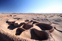 Chile, Atacama Desert, Buried prehistoric houses Stock Photos