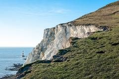United Kingdom, England, East Sussex, Beachy Head lighthouse with Seven Sisters Stock Photos