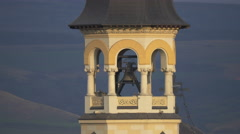 Bell ringing in Coronation Cathedral's tower in Alba Iulia Stock Footage