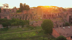 Aerial Hippodrome Stadium of Domitian, Palatine Hill in sunrise,Rome Italy - stock footage