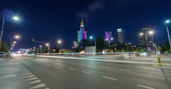 Night traffic on Swietokrzyska and Marszalkowska streets in Warsaw Time Lapse Stock Footage